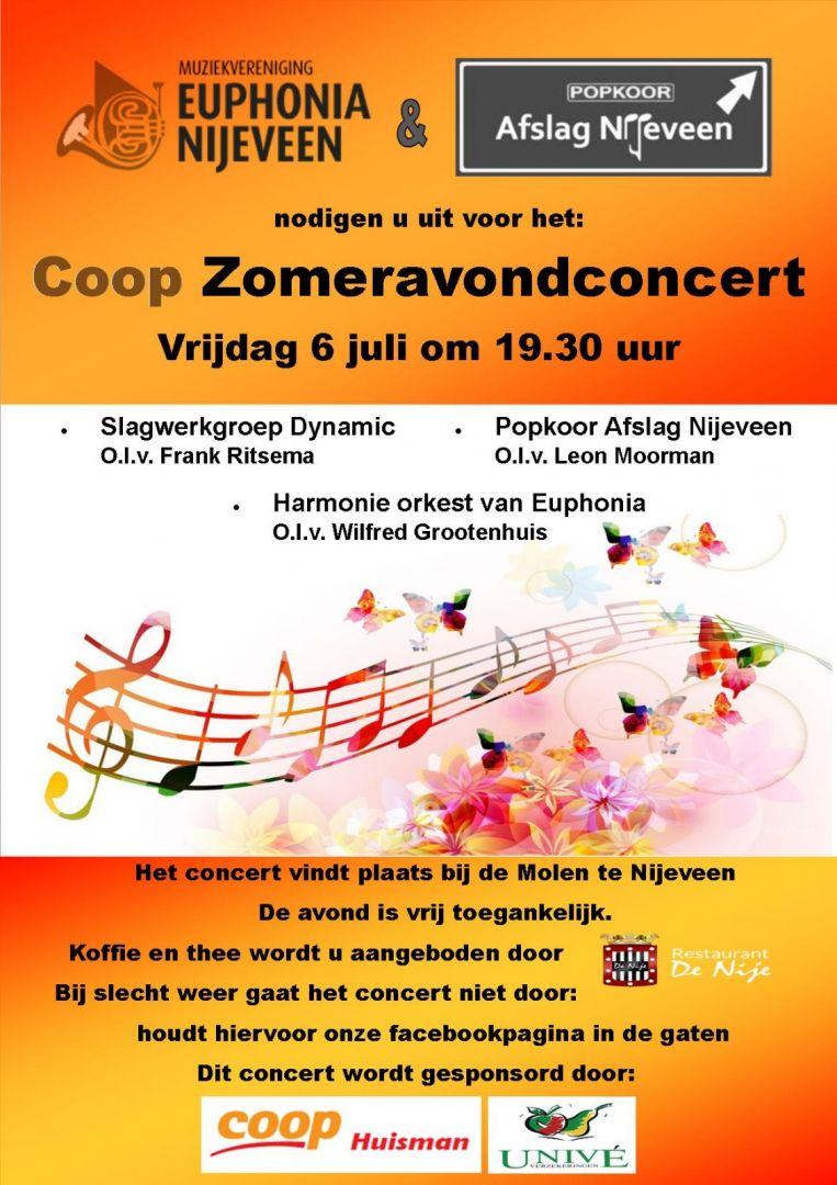 Coop Zomeravondconcert op Vrijdag 6 juli, 19:30. Het concert vindt plaats bij de molen te Nijeveen en is vrij toegangelijk. Bij slecht weer gaat het concert niet door: houdt hiervoor onze facebookpagina in de gaten.