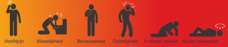 Visual symptonen koolmonoxidevergiftiging Van hoofdpijn tot buiten bewustzijn