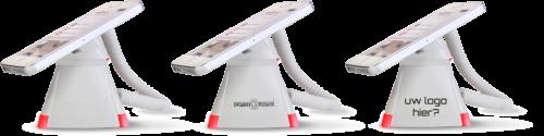 Optiguard V-line stand alone beveiligingsdisplays steuntjes met alarm en oplaadfunctie met smartphone_opdruk